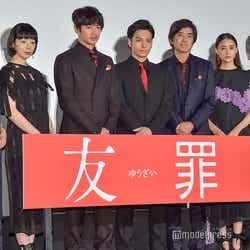 左から:富田靖子、夏帆、瑛太、生田斗真、佐藤浩市、山本美月、瀬々敬久監督 (C)モデルプレス