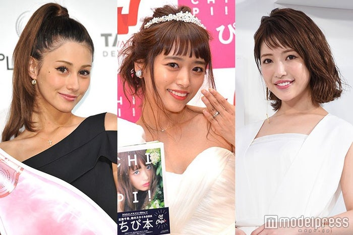 第1子妊娠発表の近藤千尋(中央)に祝福メッセージをおくったダレノガレ明美(左)くみっきー(右) (C)モデルプレス