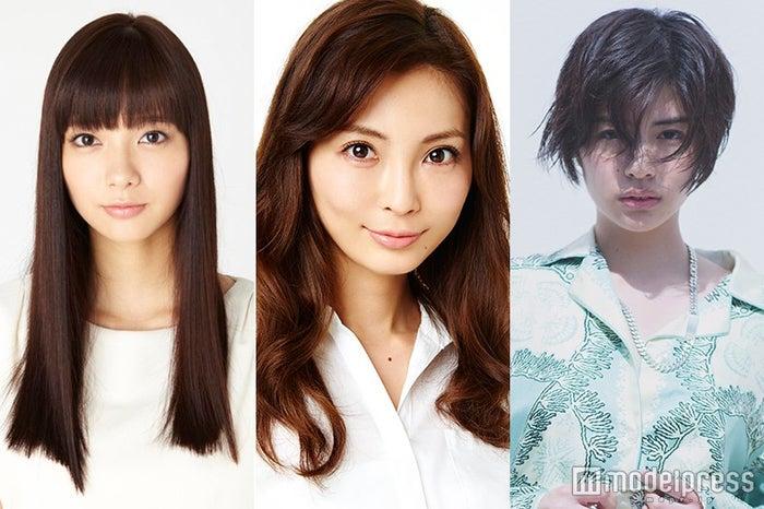 「神戸コレクション2016 SPRING/SUMMER」に出演することが明かされた(左から)新川優愛、押切もえ、佐久間由衣