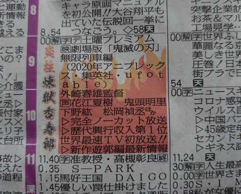 新聞ラテ欄に『鬼滅』炎柱・煉獄さん登場 主題歌担当LiSAは「一緒に伝説の旅へ」