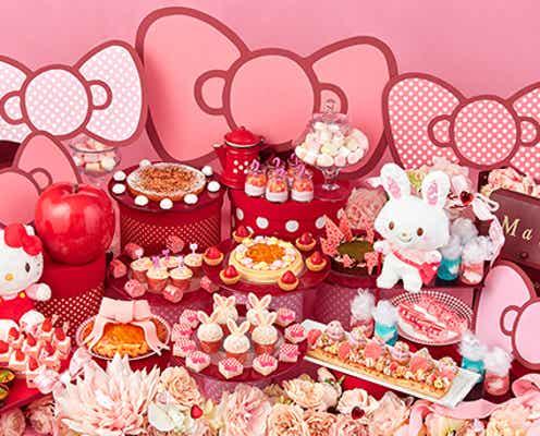 ハローキティ&ウィッシュミーメルのスイーツブッフェ、苺ピンクのケーキや水玉ムース