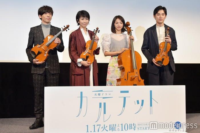(左から)高橋一生、松たか子、満島ひかり、松田龍平/楽器提供:日本ヴァイオリン(C)モデルプレス
