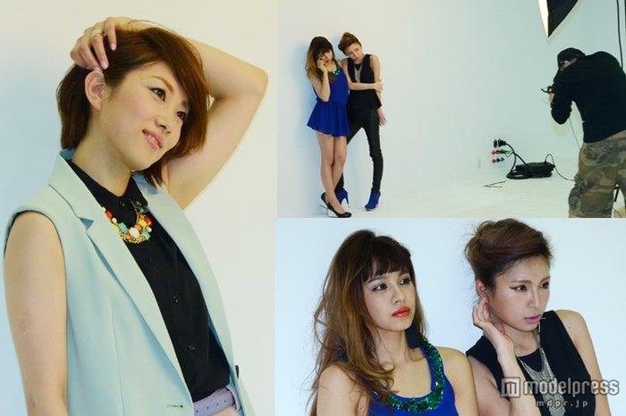 「Majesty JAPAN」の撮影に臨んだ(左から)潮田玲子、難波サキ、高橋真依子