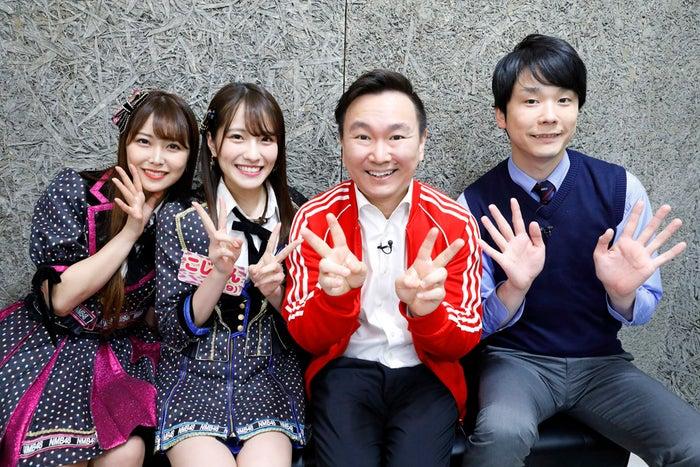 (左から)白間美瑠、小嶋花梨、山内健司、濱家隆一(写真提供:カンテレ)