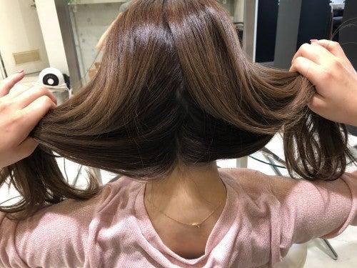 写真のように髪を2つに分けます。