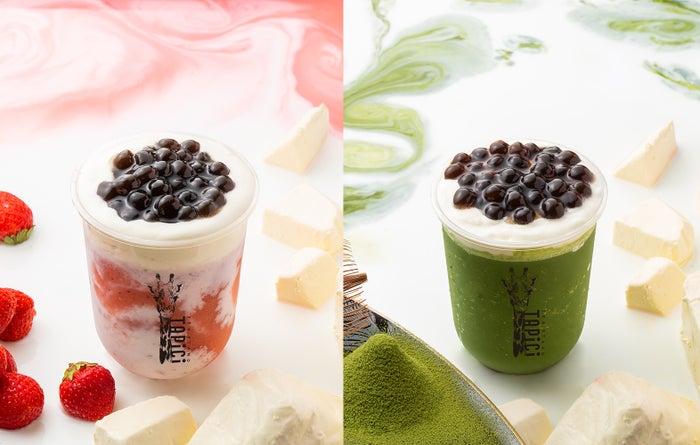 タピチ‐いちごミルクスムージー、タピチ‐宇治抹茶スムージー/画像提供:ドロキア・オラシイタ