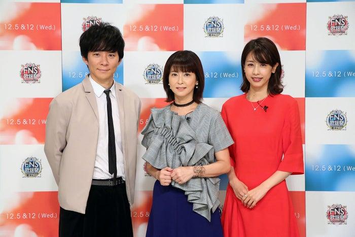 (左から)渡部建、森高千里、加藤綾子 (C)フジテレビ