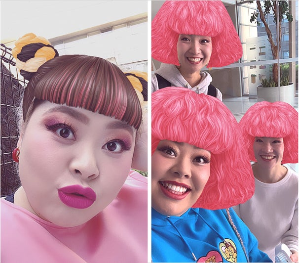 Instagramストーリーズに渡辺直美デザインのカメラエフェクトが登場(提供画像)