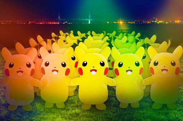 ピカチュウたちが大量発生<臨港パーク>(C)2019 Pokemon. (C)1995-2019 Nintendo/Creatures Inc. /GAME FREAK inc. ポケットモンスター・ポケモン・Pokemonは任天堂・クリーチャーズ・ゲームフリークの登録商標です。