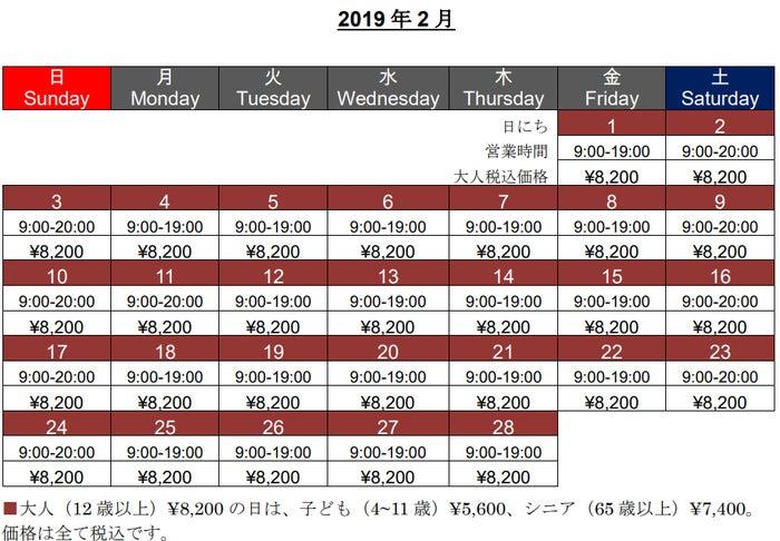 1デイ・パス価格(2019年2月)/画像提供:ユー・エス・ジェイ