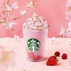 スタバ「さくら咲いた ベリー フラペチーノ」甘酸っぱいいちご風味がUP、桜色の新作フラペ