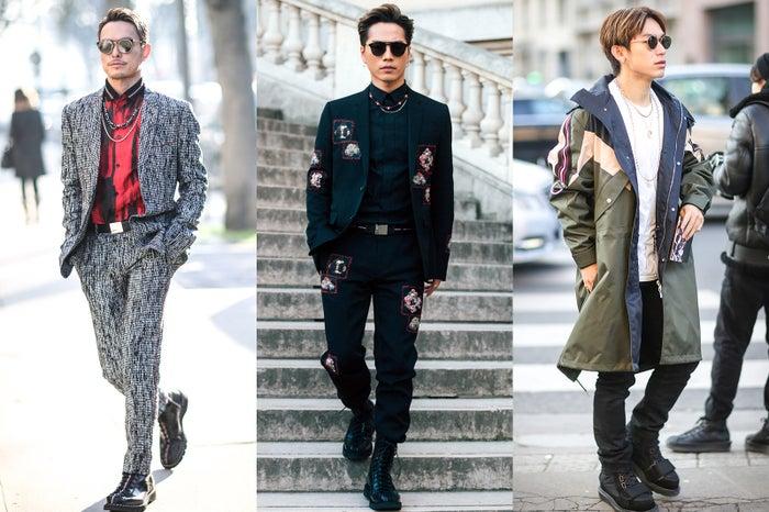 三代目JSB(左から)今市隆二、登坂広臣、NAOTO/「ディオールオム(Dior Homme)」2017-18秋冬コレクション(写真:Getty Images)