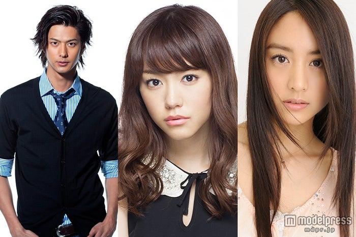 ドラマ「地獄先生ぬ~べ~」に出演する(左より)速水もこみち、桐谷美玲、山本美月