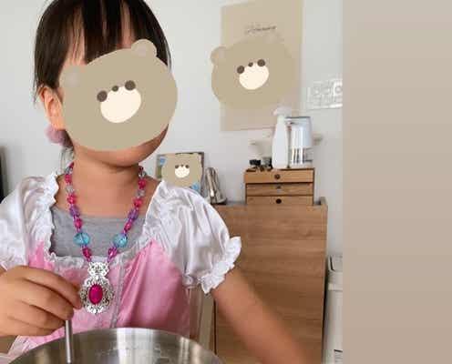 紺野あさ美、ドレスを着た娘とプリン作り「もしや前後ろ反対じゃ、、」