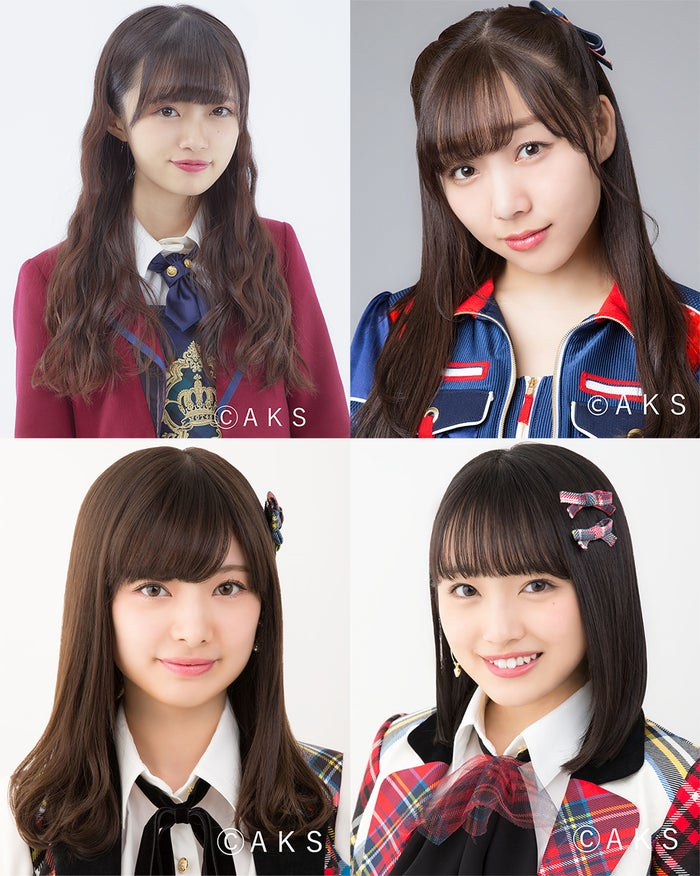(上段左から)中井りか、須田亜香里(下段左から)武藤十夢、向井地美音(C)AKS