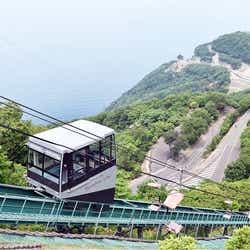 駐車場からケーブルカーに乗って山頂へ。登っていく途中の景色も爽快(提供画像)