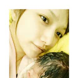 第1子を出産した後藤真希/オフィシャルブログ(Ameba)より