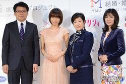 (左から)増田寛也氏、釈由美子、小池百合子衆議院議員、小室淑恵氏
