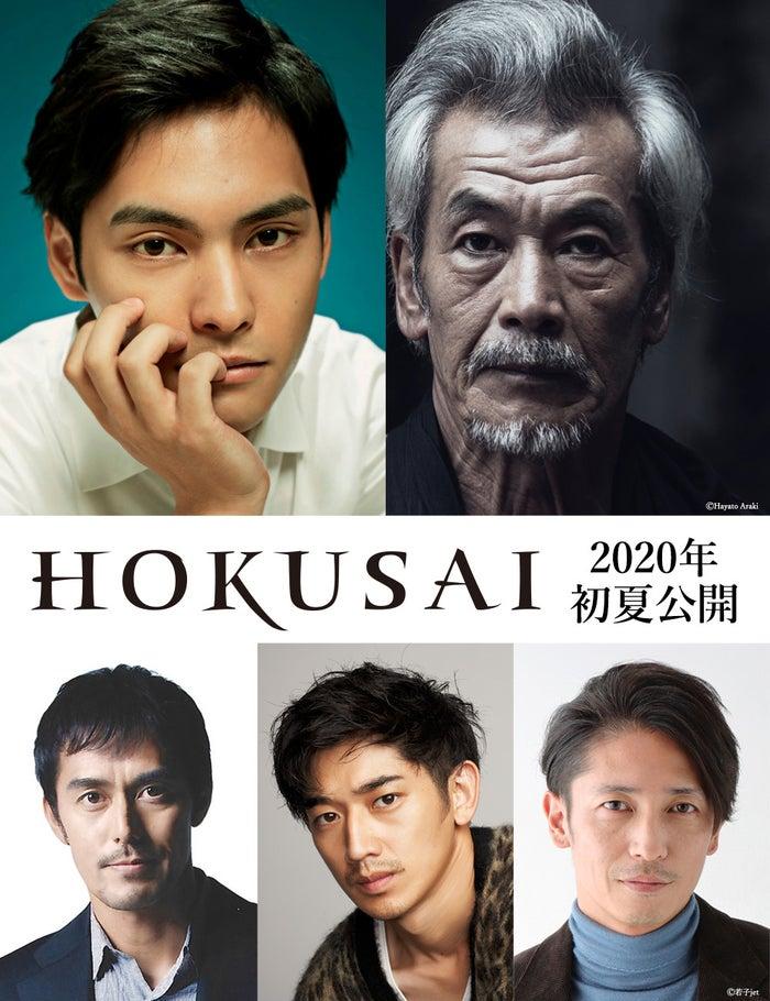 (右上から時計回り)柳楽優弥、田中泯、玉木宏、瑛太、阿部寛(C)2020 HOKUSAI MOVIE