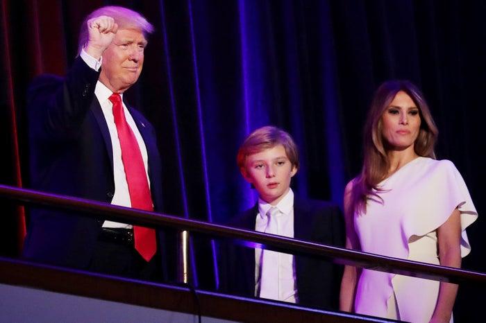 ドナルド・トランプ氏、バロン君、メラニア夫人/photo:Getty Images