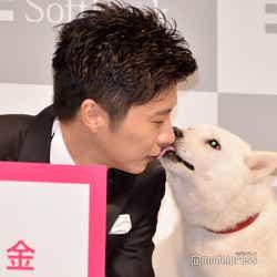 白戸家のお父さんに唇を奪われる田中圭(C)モデルプレス