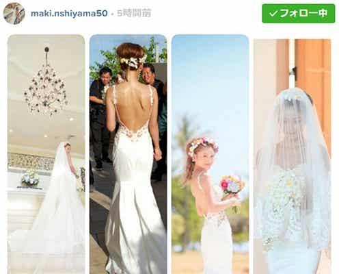 ハワイ挙式の西山茉希「一目惚れ」運命のウエディングドレス姿を披露