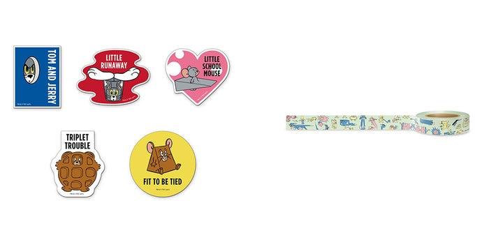 ステッカー (ランダム5種)385円(税込)、マスキングテープ A 550円(税込)/TOM AND JERRY and all related characters and elements (C)&TM Turner Entertainment Co.(s21)