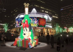 可愛いディズニーの仲間に変化!初のクリスマスツリーが有楽町に登場