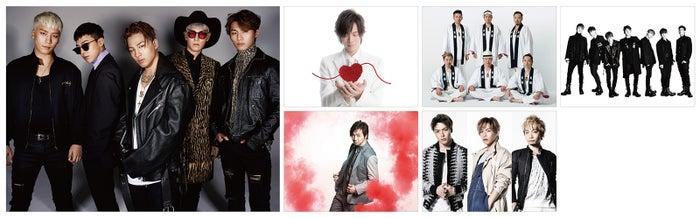 (左から時計回りに)BIGBANG、DAIGO、ET-KING、iKON、ソナーポケット、三浦大知
