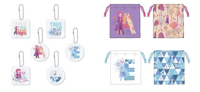 アクリルキーホルダー(ランダム6種) 500円、巾着2種(アナ エルサ) 各850円(C)Disney