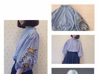 ふんわり袖にちょこんと花柄の刺繍がかわいい♥ おしゃれなブラウスコーデ