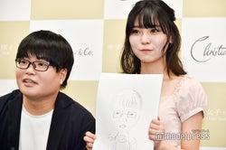 45秒でライス関町の似顔絵を描いた堀井柚奈 (C)モデルプレス
