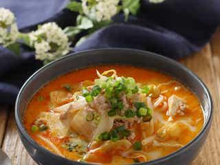 ひと品でも大満足。豆腐と野菜の豆乳坦々スープ