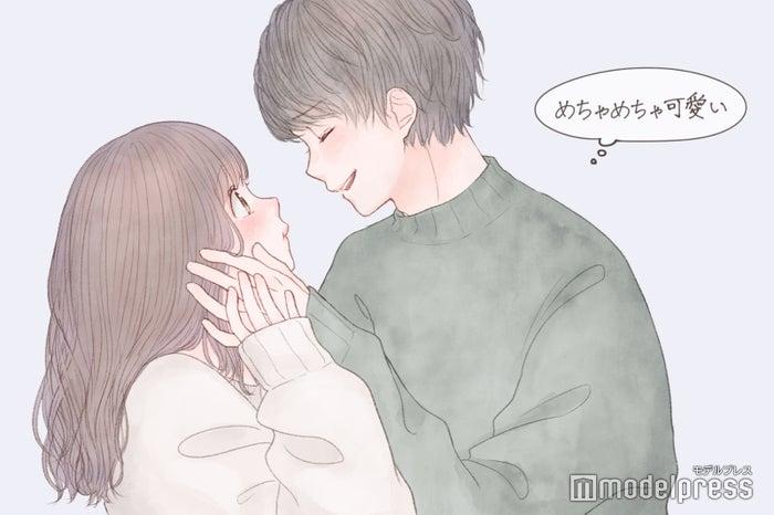 男性が「めちゃめちゃ可愛い」と思うキスの仕方 破壊力やばい反応5つ!/(C)モデルプレス/イラスト:胡月