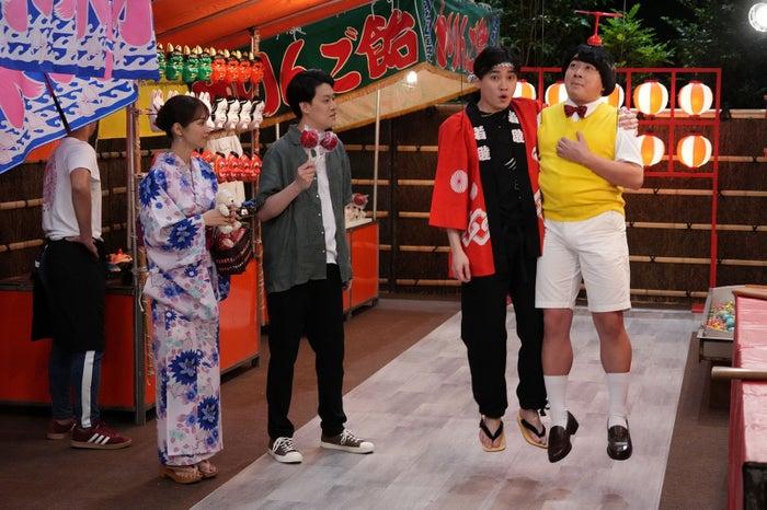 「ぶっとび!飛美男くん」(左から)鷲見玲奈、粗品、二階堂高嗣、松尾駿(C)フジテレビ