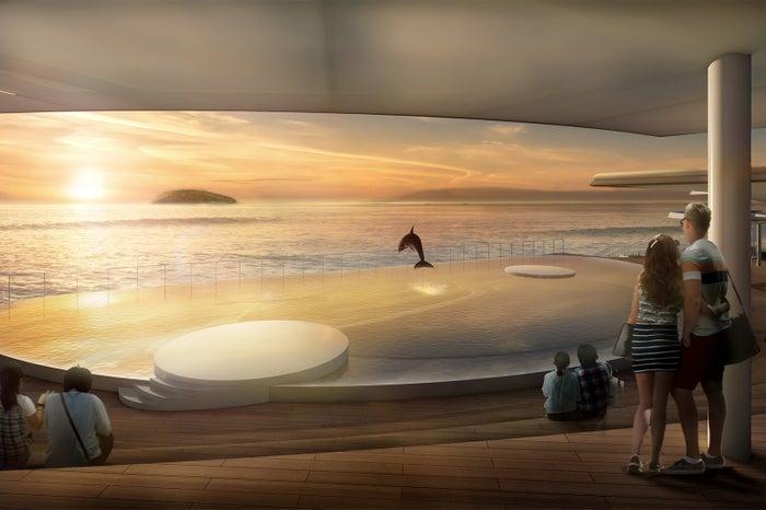 イルカプール夕景/画像提供:四国水族館開発