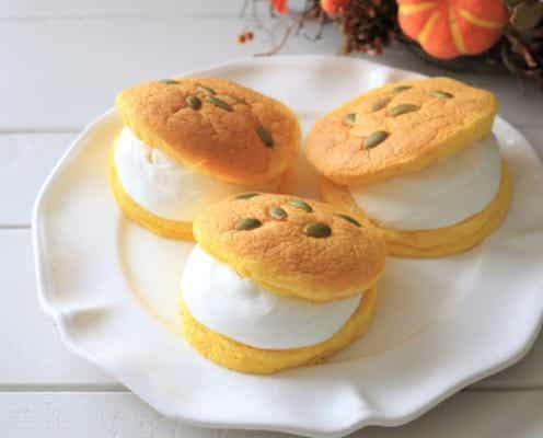 ふんわり幸せ気分♡かぼちゃカステラで作る!マリトッツォ風クリームサンド