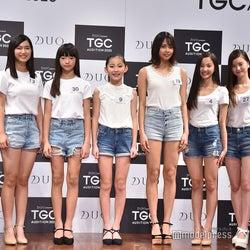 (左から)上妻美咲さん、朝倉百さん、眞井瑚々那さん、遠藤こころさん、田中叶夢さん、荻山こころさん、名波美海さん、加蘭桃子さん (C)モデルプレス