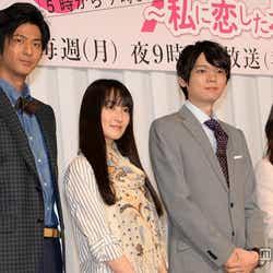 新月9ドラマ『5→9~私に恋したお坊さん~』制作発表会に出席した(左から)速水もこみち、高梨臨、古川雄輝、石原さとみ