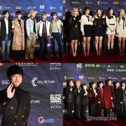 (左上から時計回り)BTS、TWICE、SEVENTEEN、坂口健太郎 (C)モデルプレス