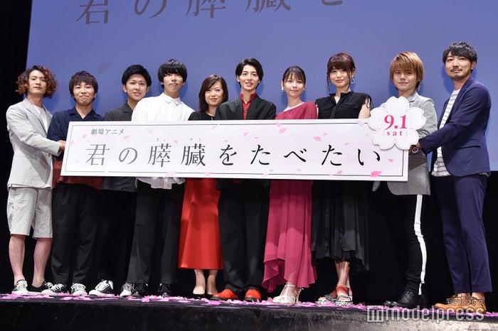 左より:sumika、和久井映見、高杉真宙、Lynn、藤井ゆきよ、内田雄馬、牛嶋新一郎監督 (C)モデルプレス