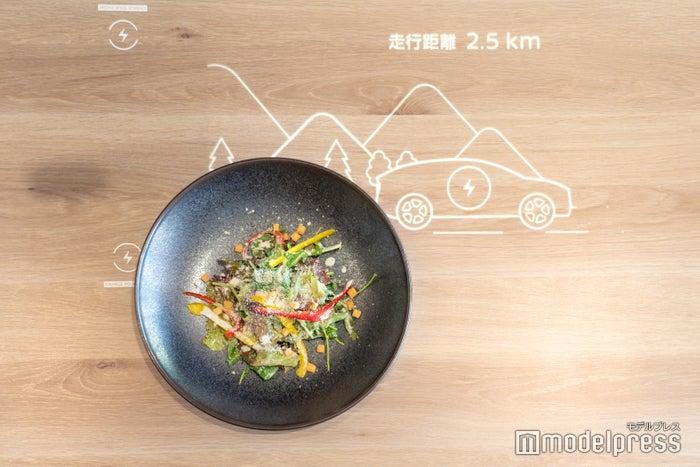 テーブルに料理を置くと、お皿のチップに反応(C)モデルプレス