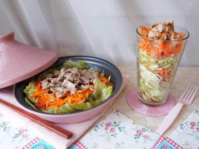 「豚バラとキャベツの蒸し鍋 → 冷しゃぶサラダ」