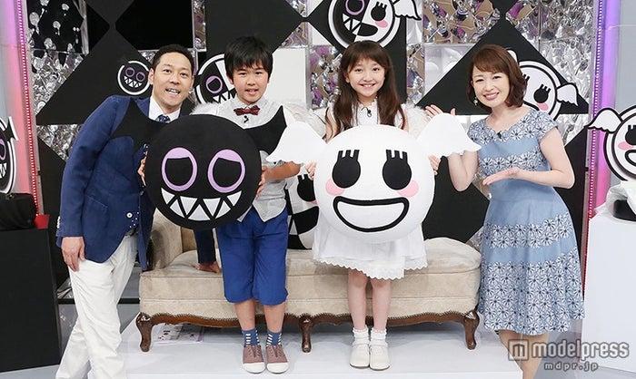 番組MCの(左から)東野幸治、鈴木福、谷花音、松丸友紀アナウンサー(C)テレビ東京
