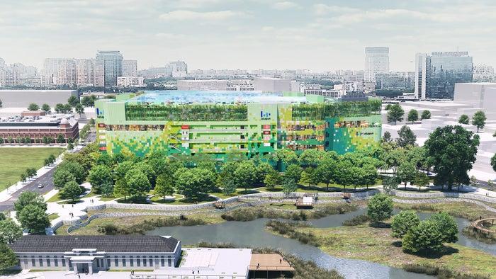 湧泉公園とC棟外観イメージパース/画像提供:三井不動産