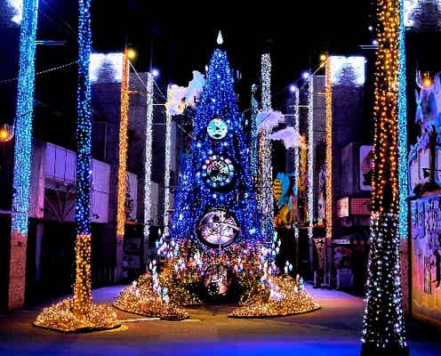 大阪ひらパーのイルミイベント「光の遊園地」音と光の魔法にかかるショー演出やランタン広場