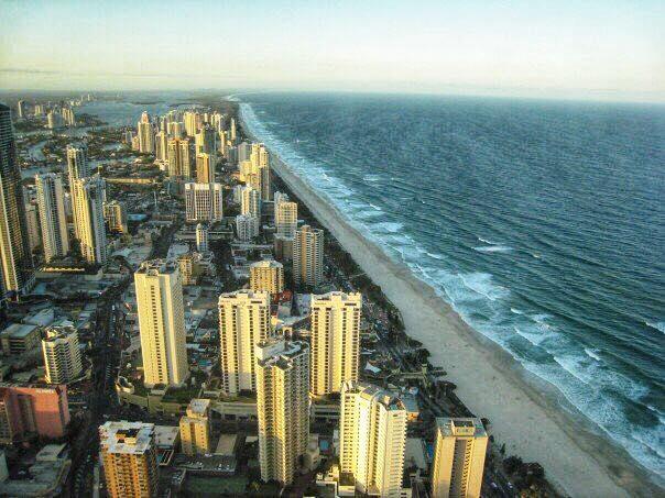 高層ホテルから見下ろすゴールドコースト海岸沿いの風景(参加者撮影)