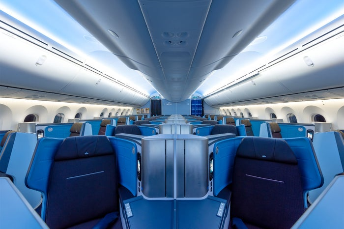 客室インテリア、シートまで有名オランダ人デザイナーがデザイン<写真はビジネスクラス>(提供写真)
