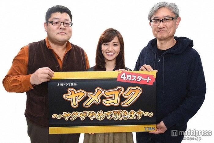 ドラマ「ヤメゴク~ヤクザやめて頂きます~」放送決定(左から)櫻井武晴氏、大島優子、堤幸彦氏【モデルプレス】
