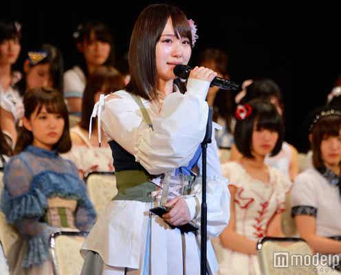 AKB48高橋朱里、2年連続選抜入りで涙 結婚発表の須藤凜々花に苦言も<第9回AKB48選抜総選挙>